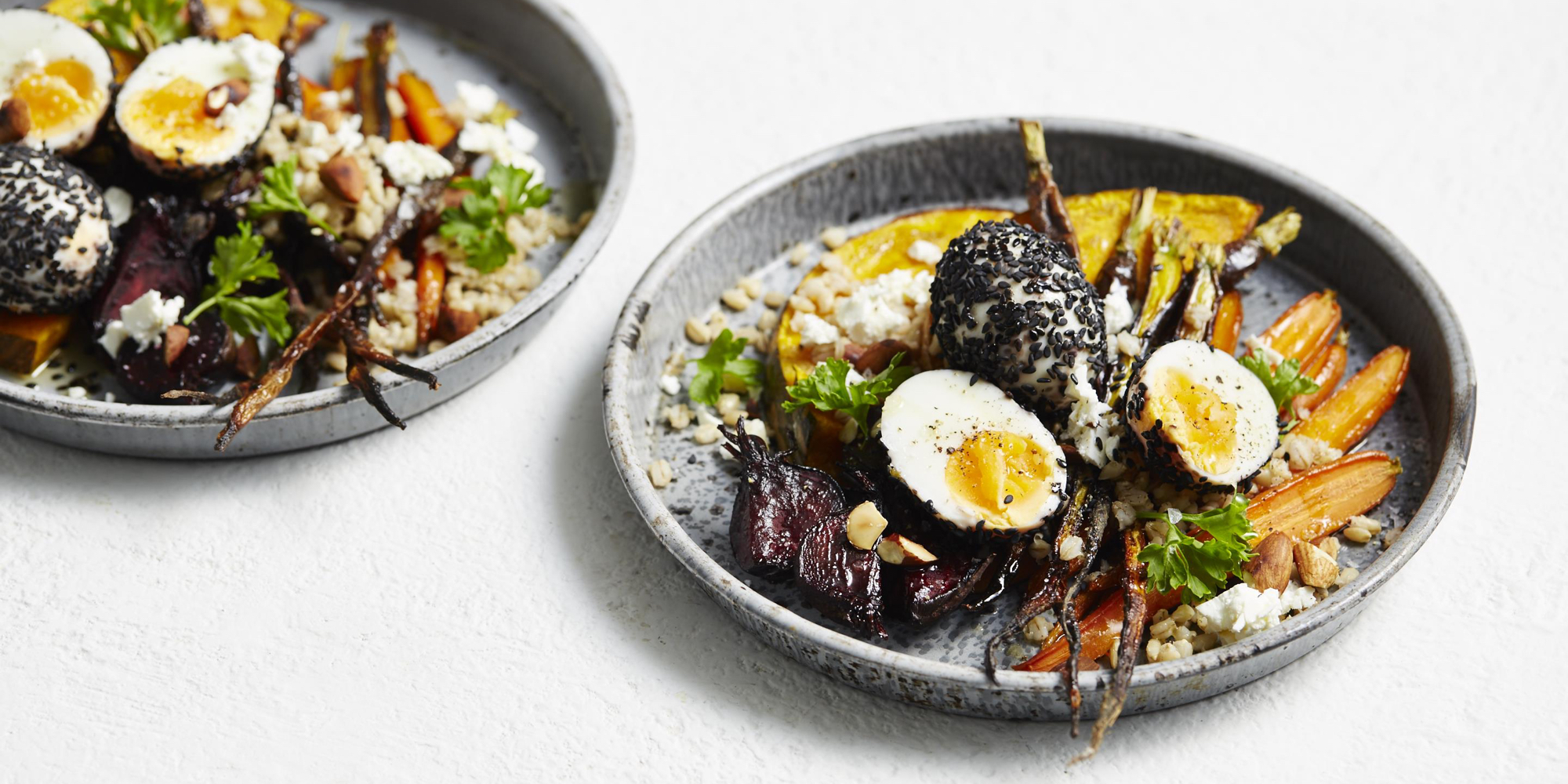 Pearl barley with sesame rolled eggs 01